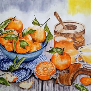 Oranges & Honey by Cheryl Monis, Impressionism Painting, Watercolor on Paper, Brown color