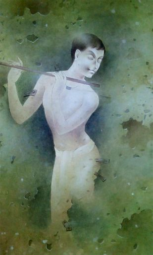 "Boy Playing Flute, Mixed Media on Paper, Green by Indian Artist ""In Stock"" by Mintu Naiya, Traditional Painting, Mixed Media on Paper, Green color"