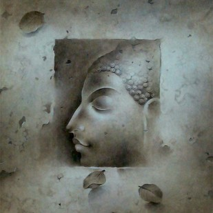 Buddha by Mintu Naiya, Traditional Painting, Mixed Media on Paper, Gray color