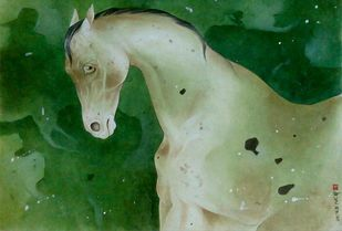 "Horse, Mixed Media on Paper, Green by Indian Contemporary Artist ""In Stock"" by Mintu Naiya, Impressionism Painting, Mixed Media on Paper, Green color"