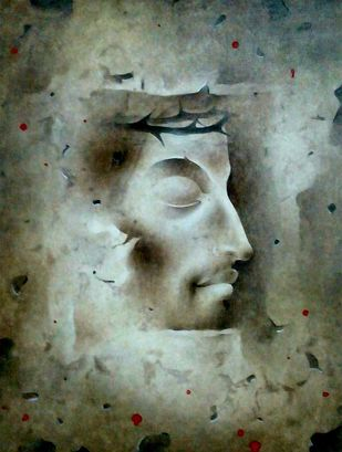 "Jesus Christ, Mixed Media on Paper, Grey, Blue by Indian Artist ""In Stock"" by Mintu Naiya, Traditional Painting, Mixed Media on Paper, Green color"