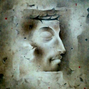 Jesus Christ by Mintu Naiya, Traditional Painting, Mixed Media on Paper, Green color