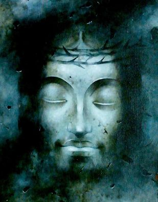 "Jesus Christ, Mixed Media on Paper, Blue by Indian Artist ""In Stock"" by Mintu Naiya, Traditional Painting, Mixed Media on Paper, Green color"