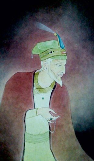"King, Indian, Wash on Paper, Green, Red by Contemporary Artist ""In Stock"" by Mintu Naiya, Traditional Painting, Watercolor Wash on Paper, Brown color"