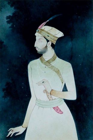 "Indian King, Wash on Paper, Blue, Green by Indian Contemporary Artist ""In Stock"" by Mintu Naiya, Traditional Painting, Watercolor Wash on Paper, Blue color"