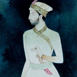 Indian King by Mintu Naiya, Traditional Painting, Watercolor Wash on Paper, Blue color