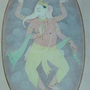 """Ganesha, God, Wash on Paper, Green, Red by Indian Contemporary Artist """"In Stock"""" by Mintu Naiya, Traditional Painting, Watercolor Wash on Paper, Green color"""