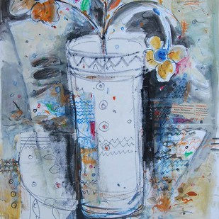 "Flower Vase, Mixed Media on paper, Blue, Red, Black by Indian Artist ""In Stock"" by Sekhar Kar, Expressionism Painting, Mixed Media on Paper, Cyan color"