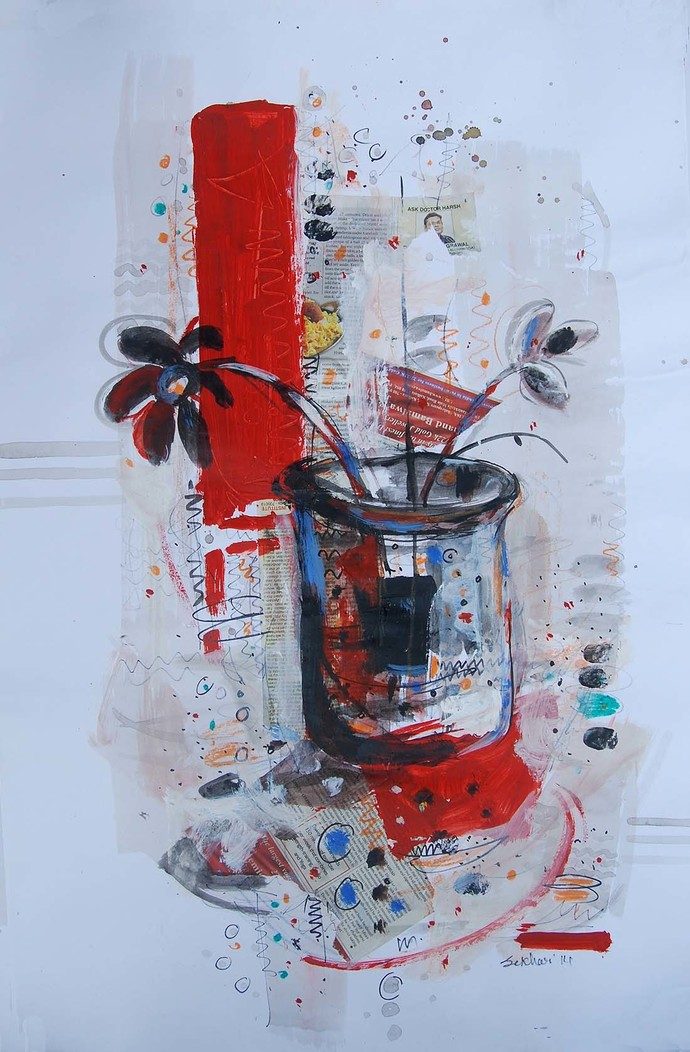 "Flower Vase, Mixed Media Painting, Red, Black, Blue by Indian Artist ""In Stock"" by Sekhar Kar, Expressionism Painting, Mixed Media on Paper, Cyan color"