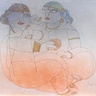 "Saheli, Mixed Media, Brown, Orange, Red by Modern Artist ""In Stock"" by Ramananda Bandyopadhyay, Impressionism Painting, Mixed Media on Paper, Gray color"