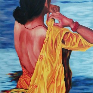 A Sacred Dip by Cheryl Monis, Impressionism Painting, Oil on Canvas, Blue color