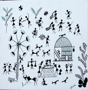 ANCIENT WARLI ARTS ON CANVAS by HARPREET KAUR PUNN, Folk Painting, Acrylic on Canvas, Cyan color