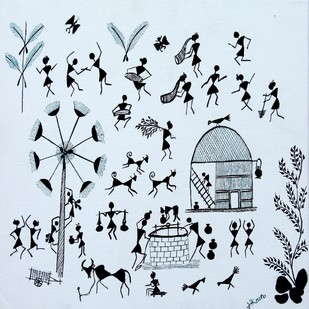 ANCIENT WARLI ARTS ON CANVAS by HARPREET KAUR PUNN, Folk Painting, Acrylic on Canvas, Cyan color