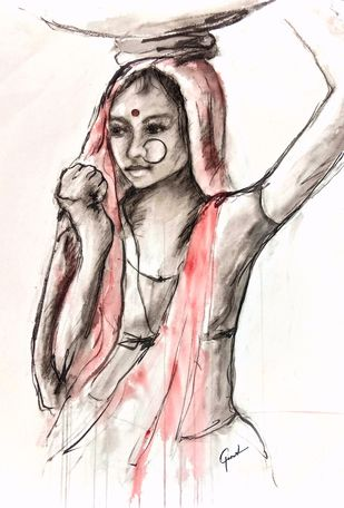 Indian Lady 19 by MADURAI GANESH, Illustration Painting, Watercolor and charcoal on paper, White color
