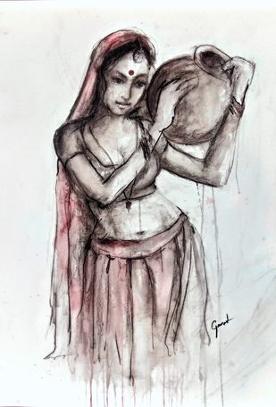 Indian Lady 20 by MADURAI GANESH, Illustration Painting, Watercolor and charcoal on paper, Gray color