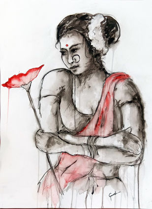 INDIAN LADY 21 by MADURAI GANESH, Illustration Painting, Watercolor and charcoal on paper, Gray color