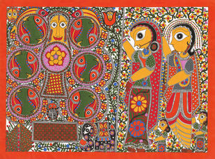 Marriage Scene- Kobar Digital Print by Sarita Devi,Folk