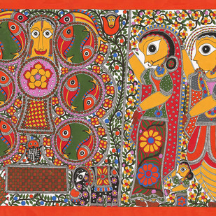 Marriage Scene- Kobar by Sarita Devi, Folk Painting, Acrylic on Paper, Brown color