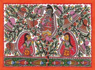 Gopi Vastra Haran-krishna Leela Digital Print by Sarita Devi,Folk