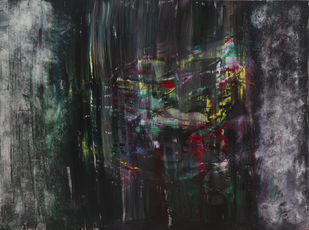 The Evening by Adil Ladha, Abstract Painting, Acrylic on Canvas, Gray color