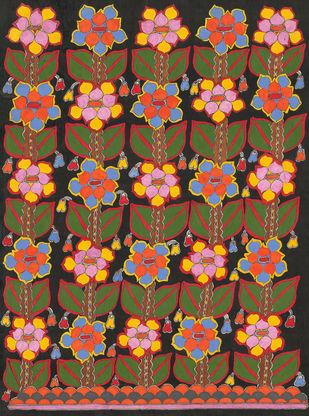 Night Flower-madhubani Paintings Digital Print by Sarita Devi,Folk