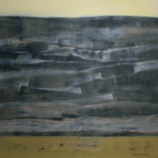 SHAPES OF MEMORIES FROM THE STELLAR by V .Hariraam , Abstract Painting, Acrylic on Canvas, Gray color