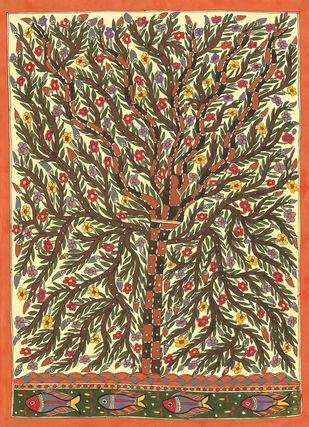 Life Of Tree Digital Print by Sarita Devi,Folk