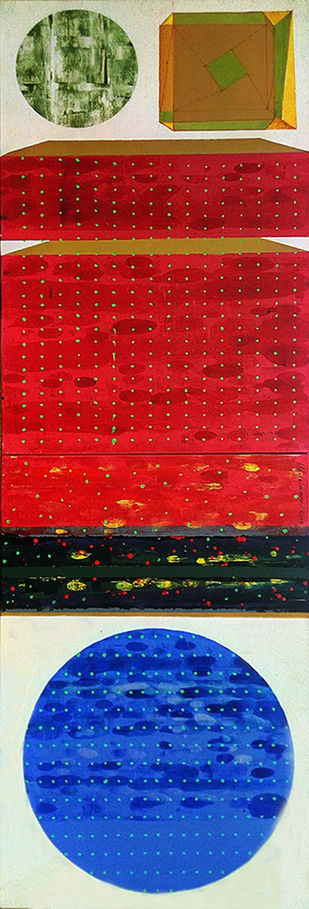 STELLAR MEMORIES 80 by V .Hariraam , Geometrical Painting, Acrylic on Canvas, Red color