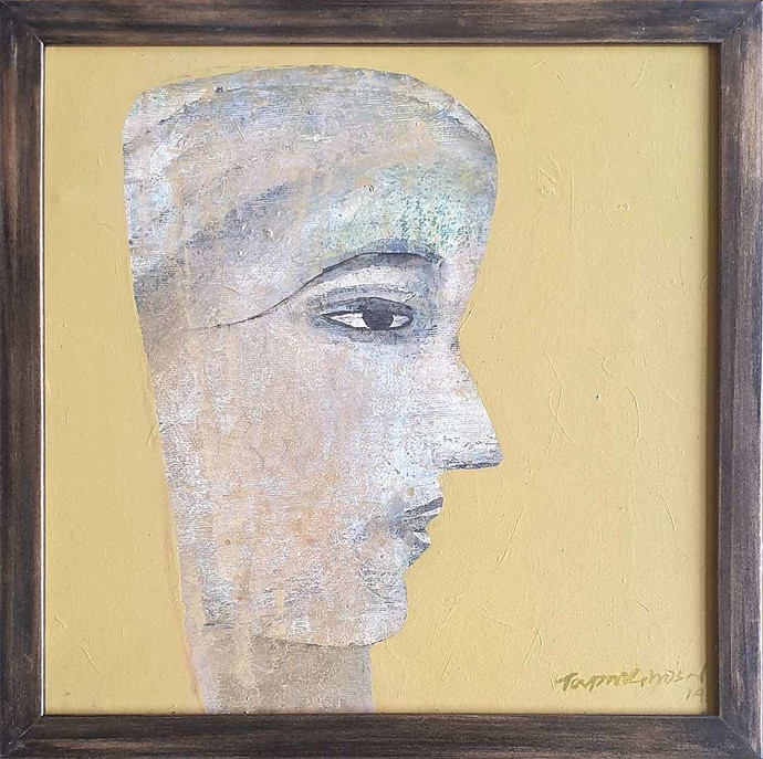 Face Series by Tapas Ghosal, Expressionism Painting, Acrylic on Canvas, Brown color