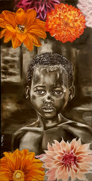 The Boy and The Bee by Meghna Rao, Expressionism Painting, Oil on Canvas,