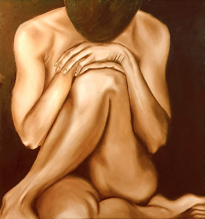 Solemn Vibes by Meghna Rao, Expressionism Painting, Oil on Canvas, Brown color