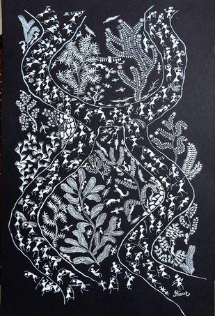 ANCIENT WARLI ARTS ON HANDMADE PAPER by HARPREET KAUR PUNN, Folk Painting, Acrylic on Paper, Green color