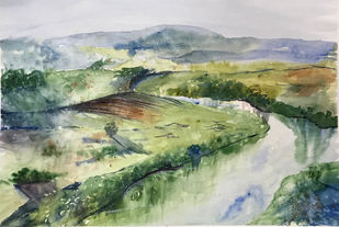 Serene Landscape by Nahid Aamina Sowkath, Impressionism Painting, Watercolor on Paper, Beige color