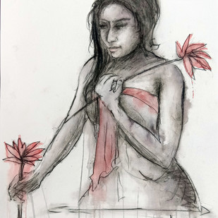 Indian Lady 23 by MADURAI GANESH, Illustration Painting, Watercolor and charcoal on paper, Gray color