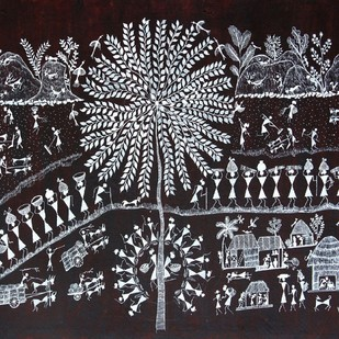 ANCIENT WARLI ARTS HOLY TREE ON HANDMADE PAPER by HARPREET KAUR PUNN, Folk Painting, Acrylic on Paper, Gray color