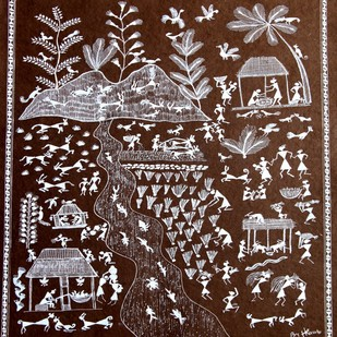 ANCIENT WARLI ARTS ON HANDMADE PAPER by HARPREET KAUR PUNN, Folk Painting, Acrylic on Paper, Brown color