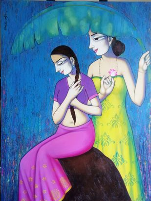 Happy Monsoon by Pravin Utge, Expressionism Painting, Acrylic on Canvas, Blue color
