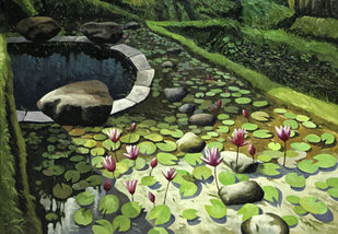 Lillies by Sanjay Bhattacharya, Fantasy Painting, Oil on Canvas, Green color