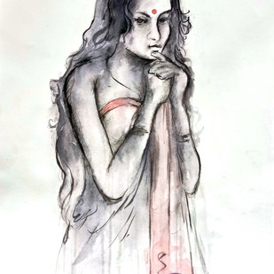 INDIAN LADY 24 by MADURAI GANESH, Illustration Painting, Watercolor and charcoal on paper, Gray color