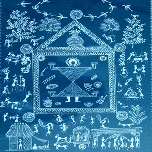ANCIENT WARLI ARTS ON HANDMADE PAPER by HARPREET KAUR PUNN, Folk Painting, Acrylic on Paper, Blue color