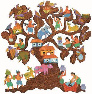 Untitled by Durga Bai Vyam, Folk Painting, Mixed Media on Wood, White color