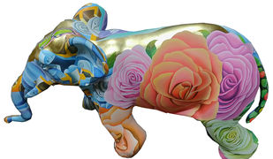 Elephant by Venkat Bothsa, Art Deco Sculpture | 3D, Fiber Glass, White color