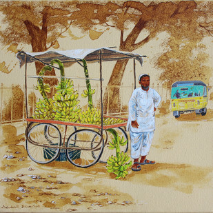 HYD Life 06 by Debabrata Biswas, Impressionism Painting, Acrylic & Ink on Canvas, Beige color