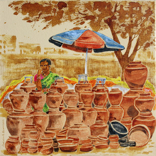 HYD Life 07 by Debabrata Biswas, Impressionism Painting, Acrylic & Ink on Canvas, Brown color