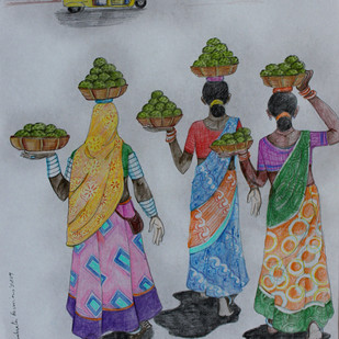 HYD LIFE 08 by Debabrata Biswas, Expressionism Drawing, Mixed Media on Paper, Gray color