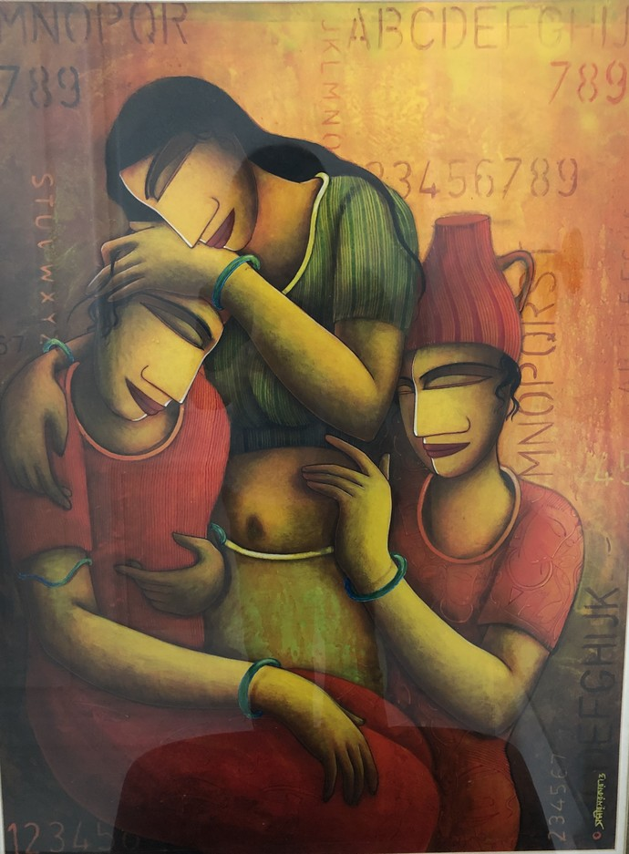Pariber by Samir Sarkar, Expressionism Painting, Acrylic on Paper, Brown color