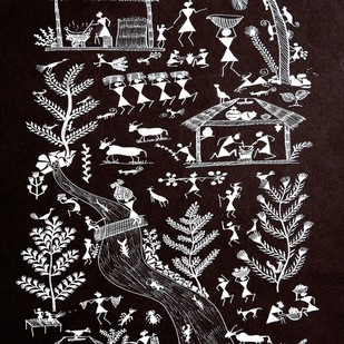 ANCIENT WARLI ARTS ON HANDMADE PAPER by HARPREET KAUR PUNN, Folk Painting, Acrylic on Paper, Gray color