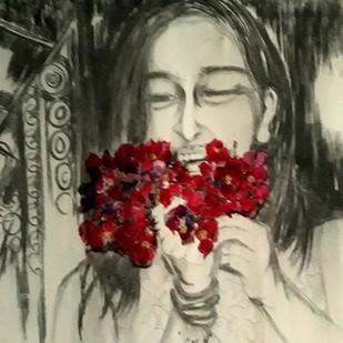 Girl with Bougenvilla by sarita sharma, Expressionism Painting, Charcoal on Canvas, Beige color