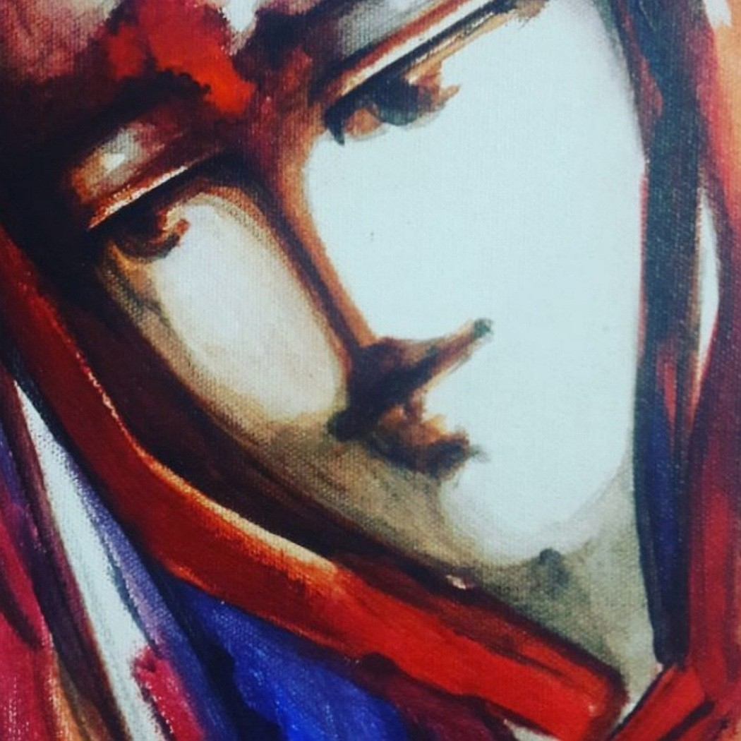 I by sarita sharma, Expressionism Painting, Acrylic on Canvas, Brown color