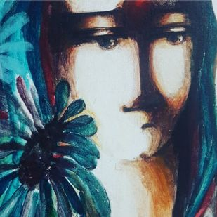 I by sarita sharma, Expressionism Painting, Acrylic on Canvas, Blue color